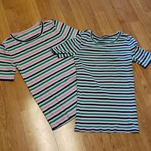 Lot of 2 J Crew striped Perfect Fit tees XS